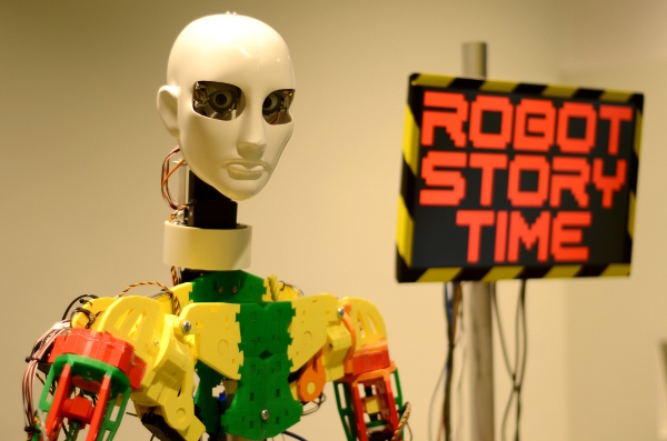 """Radius"" the story reading android robot"